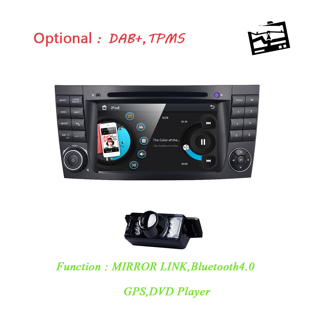 Two2 Din 7 Inch Car DVD Player For Mercedes/Benz/E Class/W211/E200/E220/E300/E350 SD USB GPS Radio RDS SWC TV BT EQ MAP Rear CAM