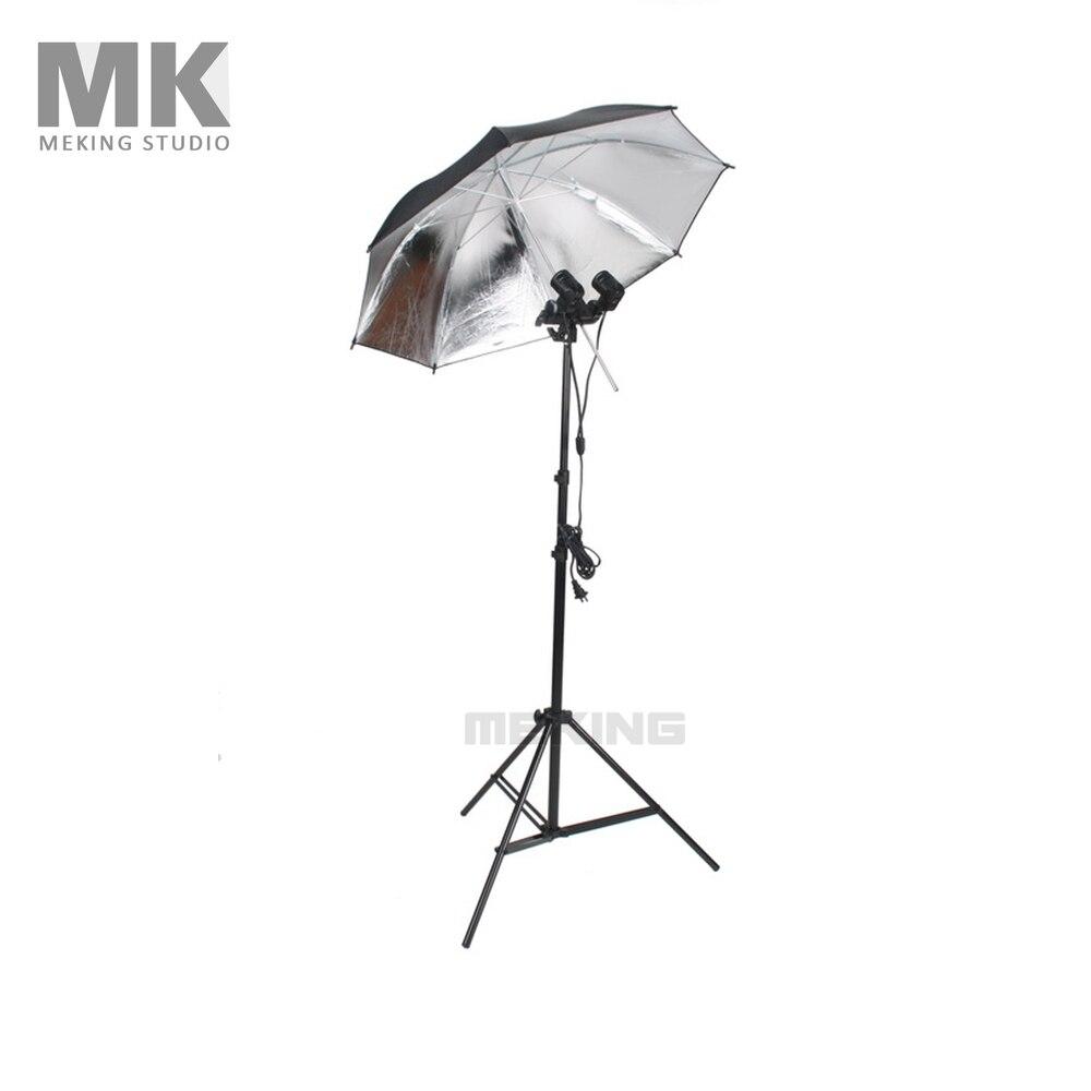 MK 33 Black Silver Umbrella 195cm W803 Light stand E27 Twins swival Adapter Socket Adapter Lighting Video Light kit ceratec effeqt mini w mk iii silver