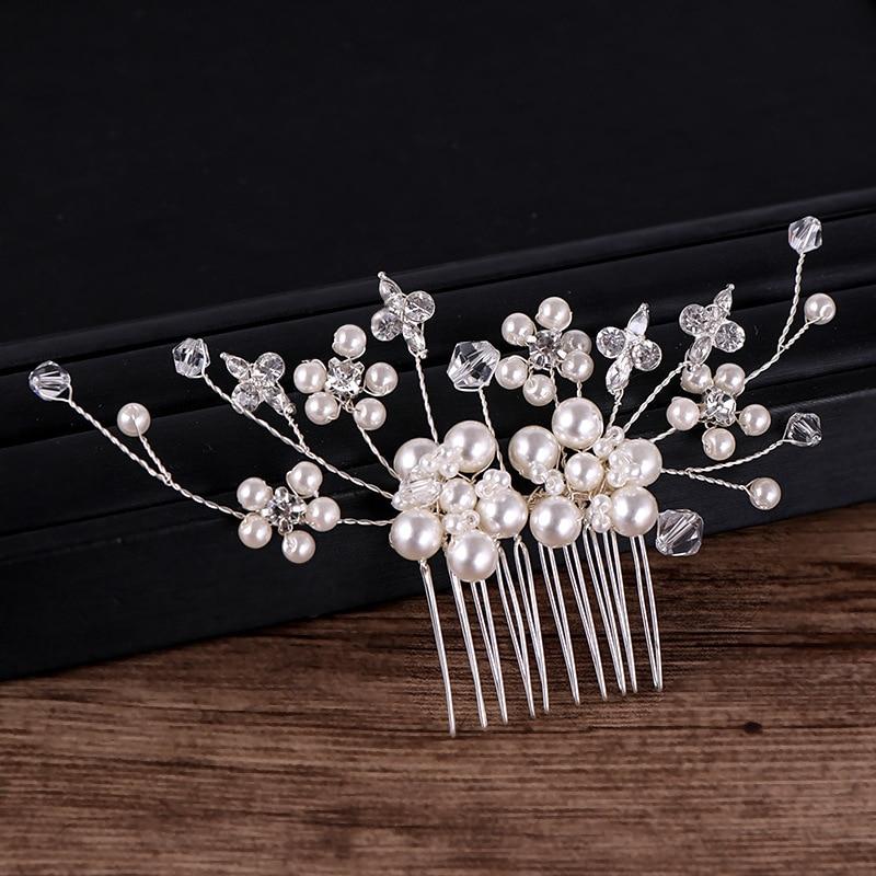 Silver Pearl Crystal Hair Combs (3)