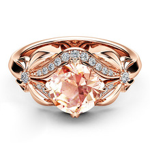 Zircon Inlaid With Hollow Butterfly Rose Gold Wedding Rings for Women Rhinestone Bow Engagement Ring Female Jewelry D30