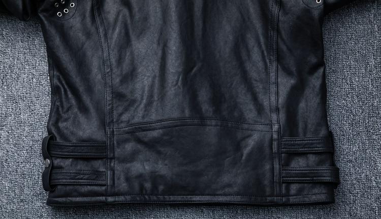 HTB1z2ZnlaAoBKNjSZSyq6yHAVXaP MAPLESTEED 100% Natural Sheepskin Tanned Leather Jacket Black Soft Men's Motocycle Jackets Motor Clothing Biker Coat Autumn M111