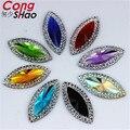 100Pcs 11*24mm Resin Rhinestone Stones Flatback Horse Eye Cabochon Beads Button Resin Crystal  Accessories ZZ471