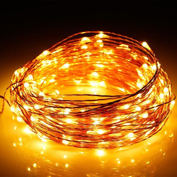 50 pcs * 10 M 100 led Alimentado Por Bateria 3AA Decorativa LED Fio de Cobre Luzes Cordas de Fadas para o Natal de Casamento partes - 2