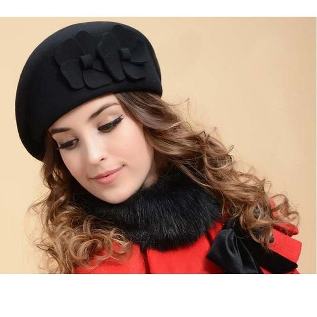 Hotselling Vintage Wool Felt Flower beret Hat Stewardess Cap Women Woolen  Fedoras Winter Cap Chapeu Feminino Wine Red Black 556d3aa45f