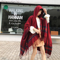Autumn Winter Ethnic Printed Hoodie Cape Shawls Women Ladies Imitation Cashmere Poncho Scarf Fringe Wraps Cloaks 130*150cm