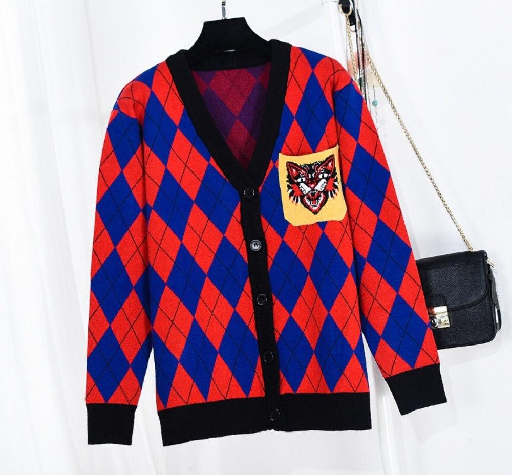 Tops Calidad G Cabeza De Mujeres La Lujo Capa Ganchillo Punto Tigre Cardigans Mujer Comprobado Del Chaqueta Knit Las Rojo Marca gUqSg