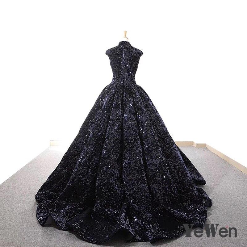 Robe De soirée nouvelle élégante bleu marine Robe De soirée pailletée 2018 longue étincelle col haut robes De mariée formelle YeWen - 3