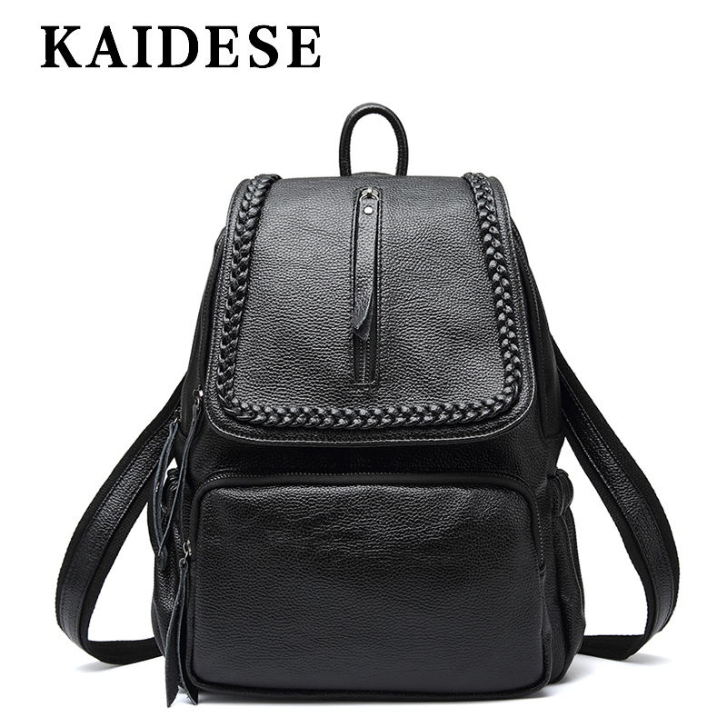 KAIDESE casual leather bag 2018 new fashion large capacity ladies backpack college wind Travel Shoulder Bag цена 2017