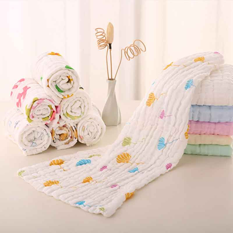 4Pcs/lot Cotton Baby Handkerchief 25*42cm 6 Layers Muslin Cotton Super Soft Baby Face Towel Bib Face Washcloth Wipe Burp Cloths