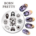 1Pc BORN PRETTY 5.5cm Round 5.5cm Nail Art Stampin Template Halloween Pumpkin Nail Stamp Image Plate Nail Decoration Tool BP-122