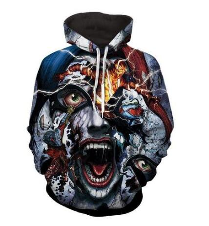 2017 new fashion men and women Cool sweatshirt Hoodies Men women 3D print lightning clown Sticky Streetwear Long sleeve clothIes