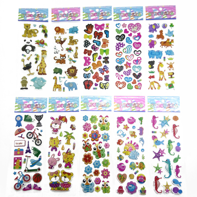 10 Different Sheets Cute Pet  DIY Stickers Cartoon Children Stickers Toys Emoji PVC Scrapbook Gifts For Kids