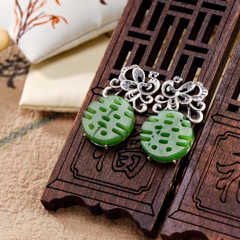 Boucle d'oreille en argent Sterling 925 Jade naturel ethnique chinois mot Double bonheur boucles d'oreilles pour femmes bijoux ethniques