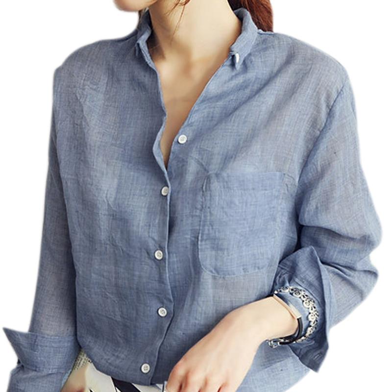 Fashion Women Long Sleeve Shirt Summer Blouse Thin Cotton Linen Casual Blouses Clothing Tops H9