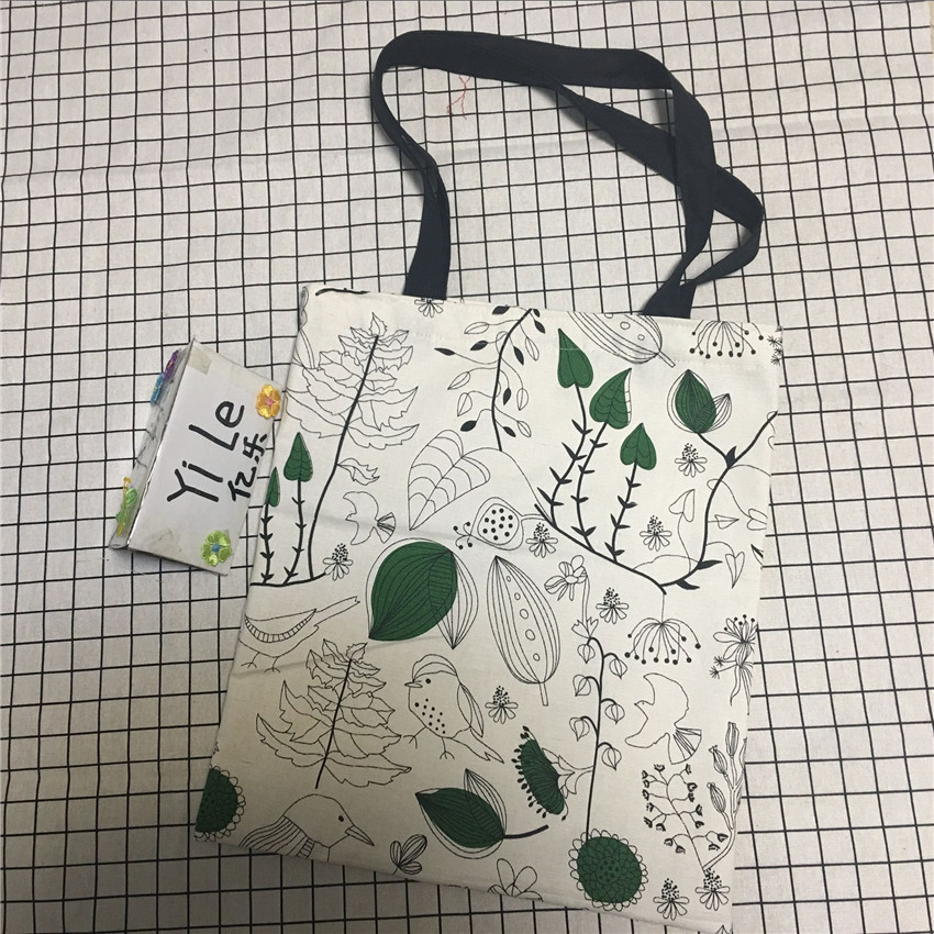 YILE Cotton Canvas Eco Shopping Tote Shoulder Bag Print Vine Leaf Bird Black Strap 8329b