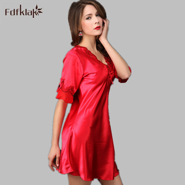 New Brand 2017 Sexy Short Silk Satin Nightgowns Casual Sleepwear Tracksuit  For Women Night Gown Ladies Plus Size Nightdress ba7d957ca