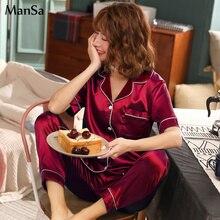 Summer Women Short sleeve Silk Pajama Set Solid Satin Pyjamas Sexy Sleepwear 2 Piece Female Homewear Loungewear
