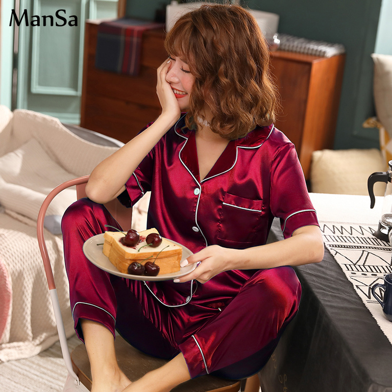 Summer Women Short sleeve Silk   Pajama     Set   Solid Satin Pyjamas Sexy Sleepwear 2 Piece   Set   Female Homewear Silk Pyjamas Loungewear