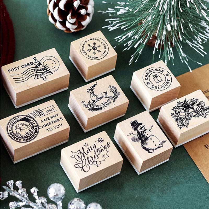 Vintage Christmas Post Office Series Wooden Rubber Stamps For Scrapbooking Stationery DIY Scrapbooking  Wooden Stamp