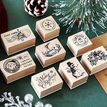 Vintage Christmas post office series wooden rubber stamps for scrapbooking stationery DIY  stamp