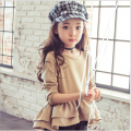 Girls autumn long sleeved T-shirt pure color tops new 2016 children baby fashion blazer falbala big girl cotton T-shirt clothes