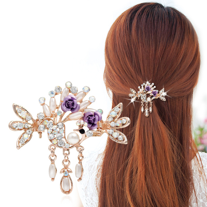 Luxury plating Golden hollow Hair claw Clips Flowers Crystal Crab claw hairpins Pendant with claw clip Barrette Headwear beautiful cloth rose flower crab claw clip barrette hair claws clamps flower headwear for women girl hair accessories hairpins