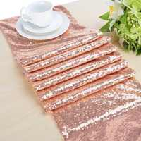 30X275cm Sequin Table Runners Glitter Rose Gold Table Runner-Rose Gold Party Supplies Fabric Decorations for Wedding Baby Shower