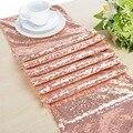 O corredor de mesa do ouro de rosa do brilho dos corredores da tabela da lantejoulas de 30x275 cm-ouro rosa fornece decorações da tela para o chá de bebê do casamento
