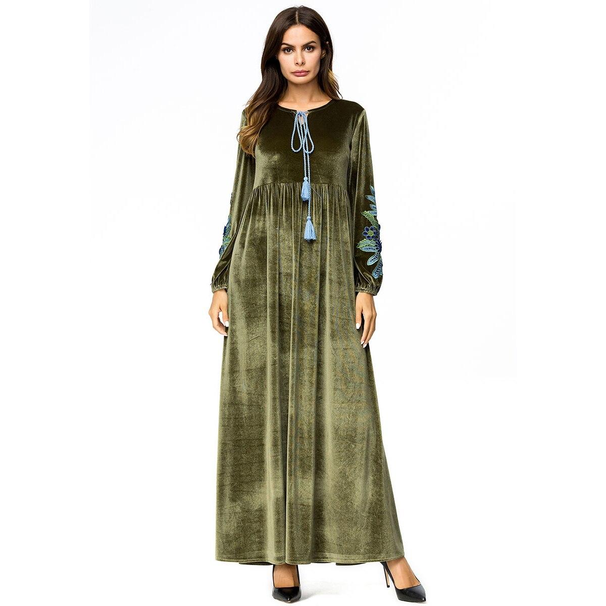 55249da78c19 Vestito Lunga Del Lungo Fiore A O Ricamo collo Donna Di Verde Più Abiti  Formato 4xl Dress Robe Il ...