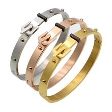 Gold color stainless steel rivet imitation belt buckle braceles & bangles pulseras mujer, punk bracelet women bracciali jewelry