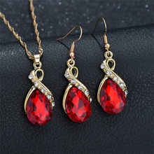 New Wedding Gift Jewelry Sets Gold Color Water Drop Shape Crystal Earrings Necklace Sets Adjustable Wedding Women Jewelry Sets top women christmas gifts flower shape bridal jewelry accessories gold necklace crystal earrings italian jewelry sets