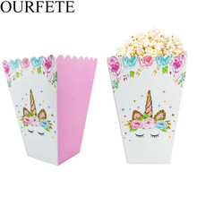 8pcs Unicorn Popcorn Boxes DIY Birthday Party Decoration Kids Pink Flower Favors Bags Gift Wrapping