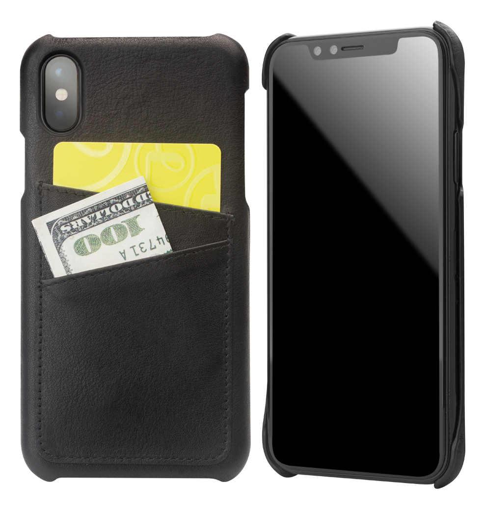 QIALINO coque arrière fait main de luxe pour iPhone onex Fashion fente pour carte en cuir véritable couverture de sac de téléphone ultra-mince pour iPhone X 5.8 pouces