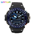 SANDA Fashion Casual Quartz Watch Men's Sports Watches Waterproof S Shock Relojes LED Military Wristwatches