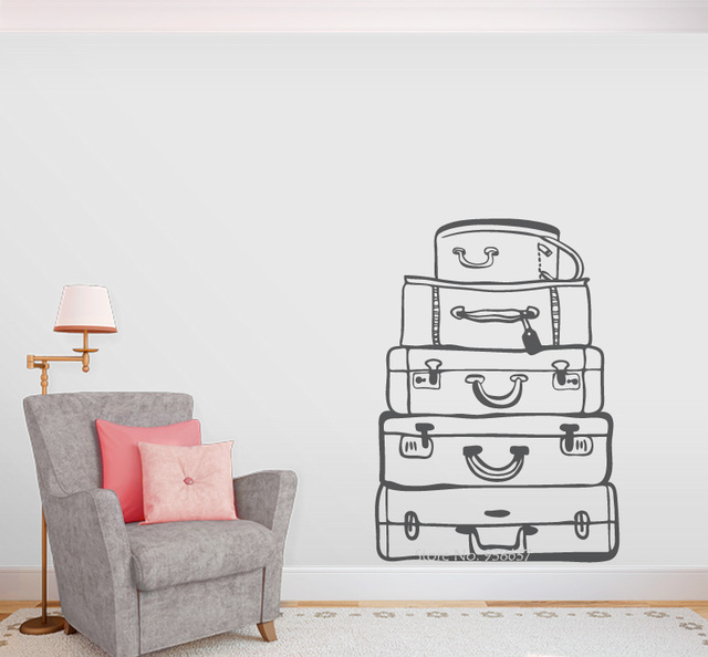 travel bags wall art decal for guest rooms e co friendly vinyl wall