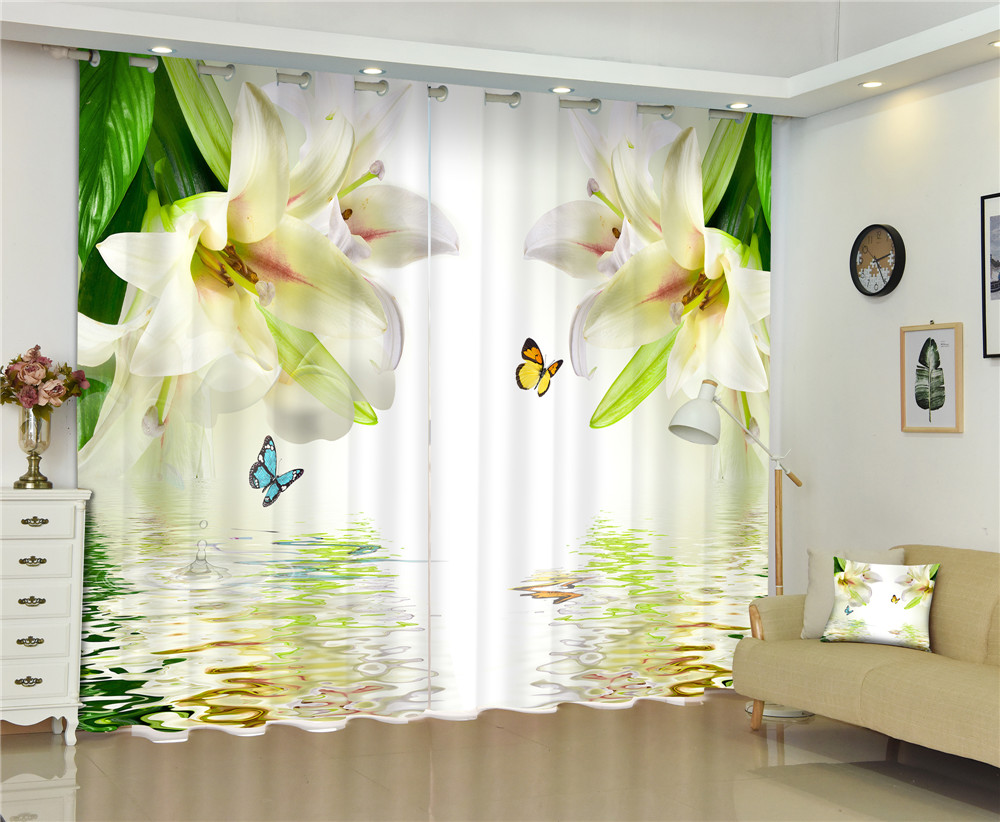 Flowers print Chinese Customized 3D Blackout Curtains Living Room Bedroom Hotel Window Drapes Cortinas para Rideaux