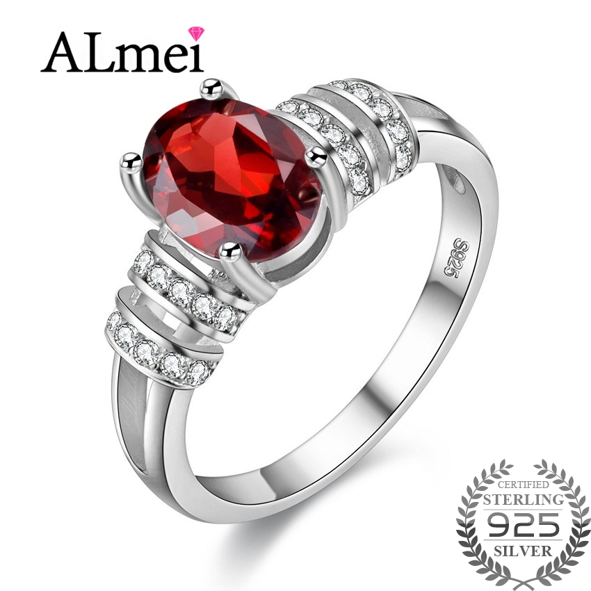 Almei Vintage Garnet Red Rings for Girls Women 925 Sterling Silver Wedding Ring Jewelry Female Anillos Ringen with Box 40% FJ101Almei Vintage Garnet Red Rings for Girls Women 925 Sterling Silver Wedding Ring Jewelry Female Anillos Ringen with Box 40% FJ101