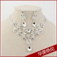 Moda nupcial corona de tres piezas de joyería de la boda collar pendiente accesorios de boda collar pendiente conjunto