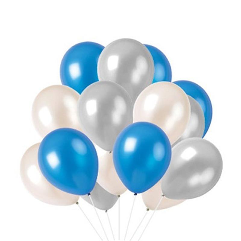 12 inch heliummassa bead latex ballon wit donkerblauw en transparant - Feestversiering en feestartikelen
