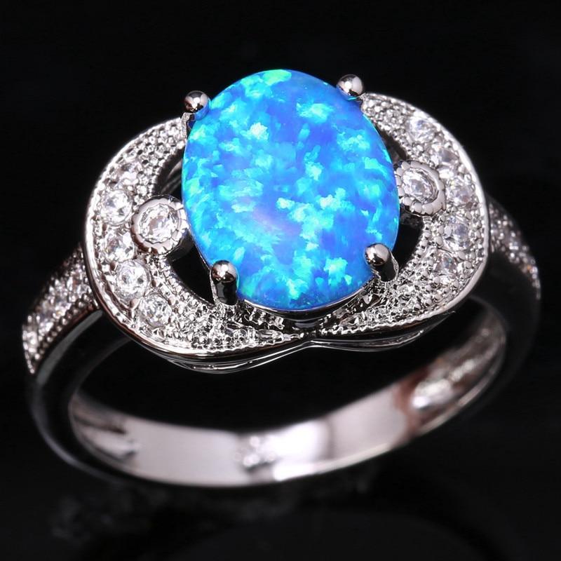 Hot Sale Hot Bezel Setting Bowknot Sky Blue Fire Opal & White 925 Sterling Silver Jewelry Us# Size 6 7 8 9 Sf1281 Rings
