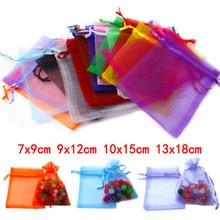 10 pièces 7x9 9x12 10x15 13x18cm cordon Organza sacs bijoux emballage sacs mariage fête faveur cadeau sacs bijoux pochettes