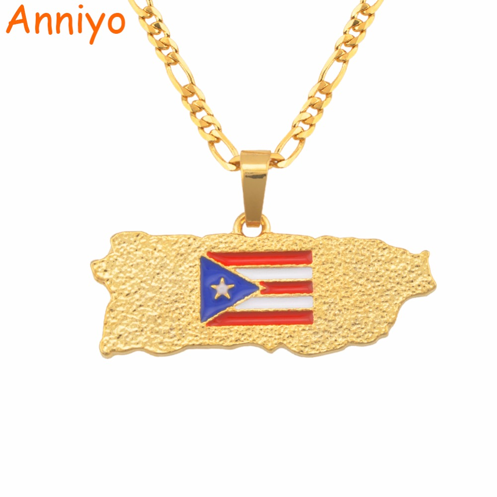 Anniyo Puerto Rico Map Flag Pendant Necklaces for Women/Men Gold Color PR Puerto Ricans Jewelry Gifts #117006