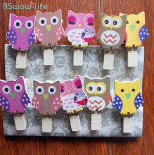 20 Pcs Cute Mini Owl Wooden Clips Cartoon Clip Photo DIY Festive Party Supplies For A Small Gift To The Guest
