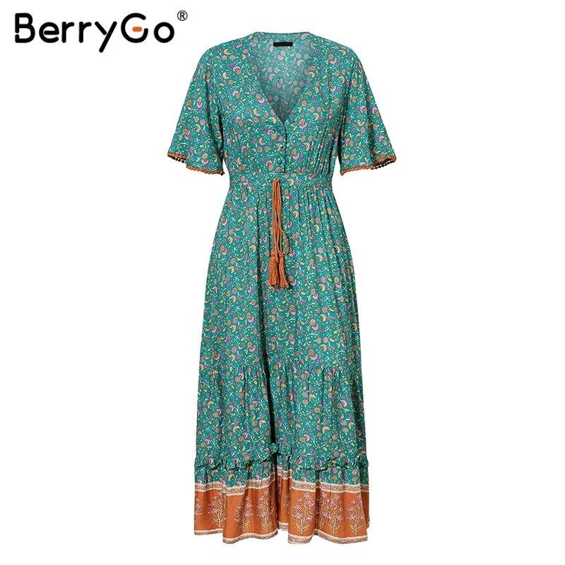 BerryGo women dresses Bohemian dresses print summer dress Short sleeve ruffled long maxi dress v-neck drawstring ladies vestidos 4