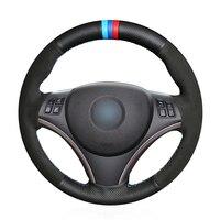 OLPAY DIY Black Suede Genuine Leather Car Steering Wheel Cover for BMW E90 320i 325i 330i 335i E87 120i 130i 120d Comfortable