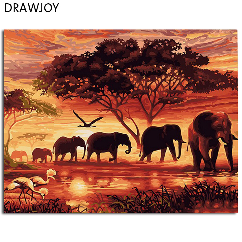 DRAWJOY Framed Picture Painting By Numbers DIY Painting Colos