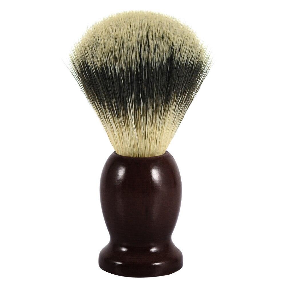 Grandslam Man Shaving Brush Badger Synthetic Nylon Soft Hair For Shave Barber Natural Wood Handle