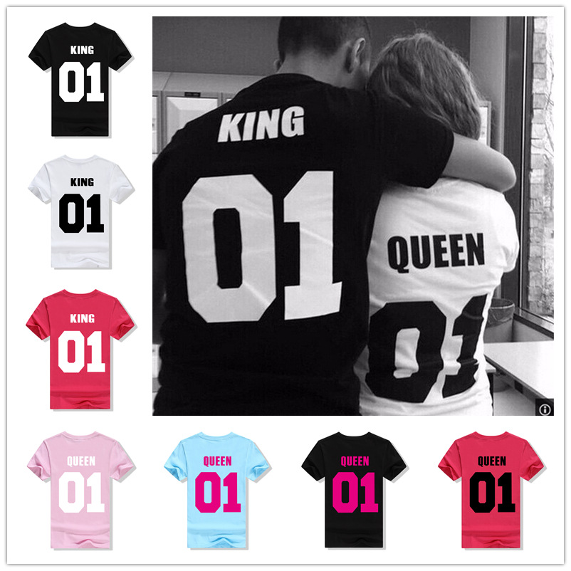 <font><b>King</b></font> <font><b>Queen</b></font> Letter Print <font><b>T</b></font> <font><b>Shirt</b></font> Couple Short Sleeve O Neck Loose Tshirt 2019 Summer Women Tee <font><b>Shirt</b></font> Tops Camisetas Mujer image