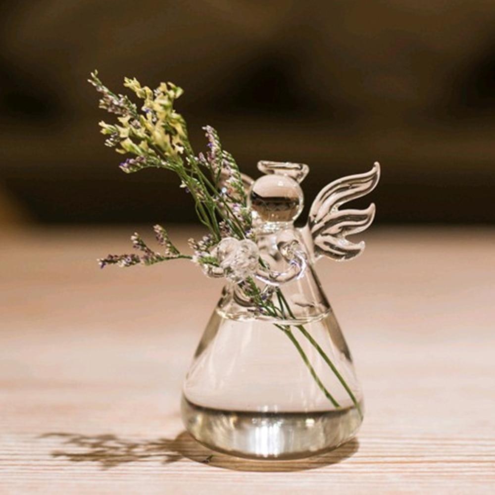 Behogar Angel Style Glass Flower Decoration Vase Vidrio Florero De Vidro Vaso Vetro Vaso Glas Vase Home Desk Table Decoration