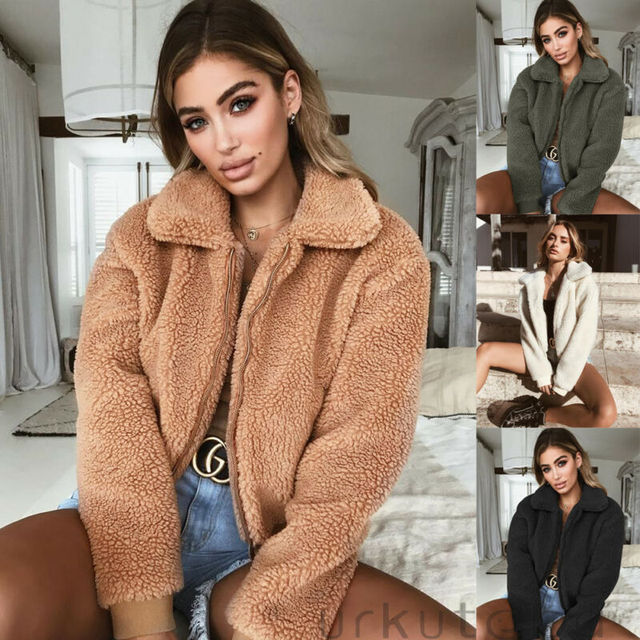 Women Fluffy Shaggy Faux Fur Warm Coat Cardigan Jacket Lady Casual Outwear Sale